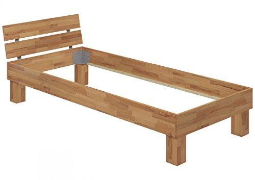 Erst-Holz® Einzelbett Buche-Bettgestell Natur 90x200 Massivholzbett Jugendbett ohne Zubehör 60.80-09 oR