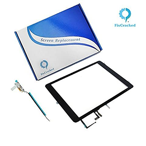iPad air Screen replacement,iPad air Front Touch Digitizer Assembly Replacement include Home Button +Camera Holder + Adhesive pre-installed+WIFI Antenna Cable