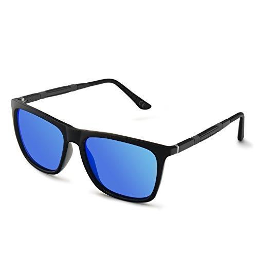 AMZTM Polarisiert Verspiegelt Stil Sonnenbrille für Damen Quadratischer Rahmen Al-Mg Beine HD Vision Mode Blendschutz Fahren Angeln Brille (Schwarz und Eisblau, 55)