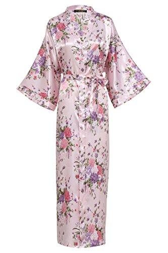 BABEYOND Damen Morgenmantel Maxi Lang Seide Satin Kimono Kleid Blütenkirsche Muster Kimono Bademantel Damen Lange Robe Blumen Schlafmantel Girl Pajama Party 135 cm Lang (Rosa) (Satin Langes Kleid)