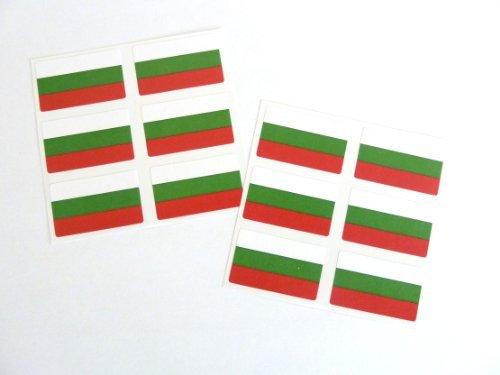 Preisvergleich Produktbild Mini Aufkleber-Pack, 33x20mm Rechteck, selbstklebend Bulgarien Etiketten, Bulgarische Flagge Sticker
