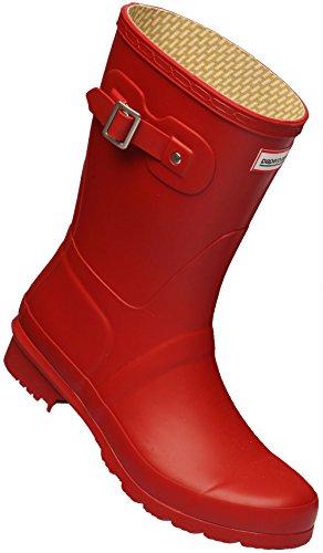 Paperplanes - 1193–1 tendance centrale de bottes de pluie Wellington Bottes en caoutchouc pour femme Rouge - rouge