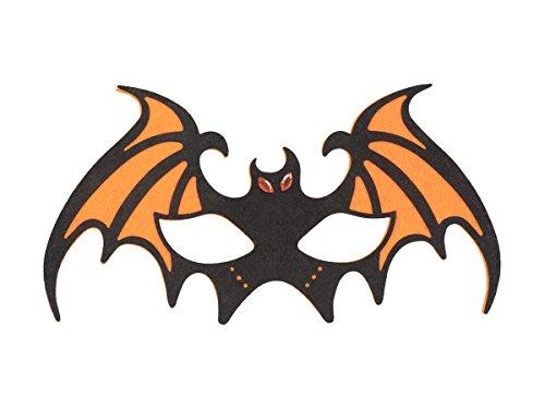 Maschera pipistrello per halloween e carnevale in feltro, di colori diversi, travestimento terrificante, ideale per feste a tema horror orrore mascherina conte dracula , 97522 pipistrello arancio