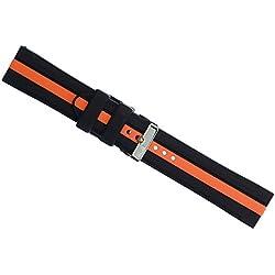 eneWatch Herren Wechsel-Armband PU-Armband schwarz orange UEA11605