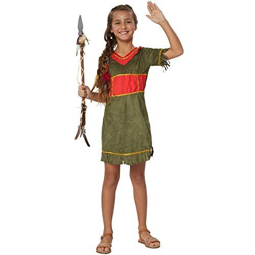 dressforfun 900514 - Mädchenkostüm kleine Mohikanerin, Indianisches Kurzkleid in Wildlederoptik (158 | Nr. 302572)