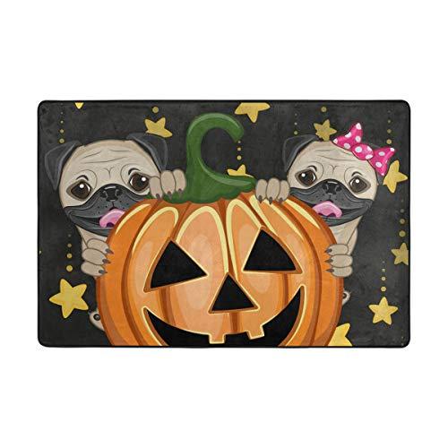 Halloween-Motiv mit Kürbis aus Polyester, lustige Fußmatte für den Eingangsbereich, Fußmatten für Zuhause, Schuhe, Schaber, Rutschfest, waschbar, Polyester, 1, 72 x 48 inch ()