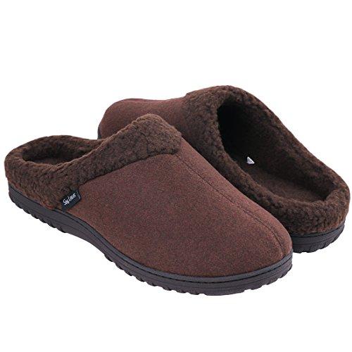 EverFoams Herren Baumwolle Memory Foam Hausschuhe, Wollähnliche Plüsch-Fleece gefütterte Schuhe mit Gummisohle - Mailbox Besten Der Die