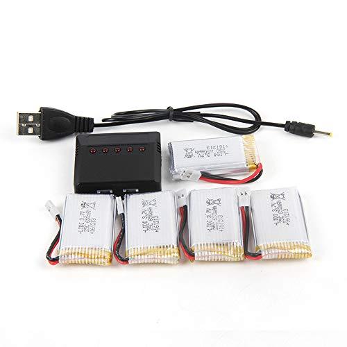 5 Stück 3,7 V 800 mAh Lipo Batterie Akku mit 4 in 1 Ladegerät für x5c x5sw x5 L15 Drohne,Ewendy Flugzeiten Ihrer Drohne verlängern | Schützt vor Überlastung | Ersatzbatterie Zubehör für Drohne Akku