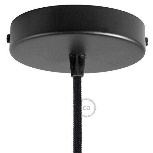 Kit rosace cylindre noir 120 mm, fixation, vis et serre-câble