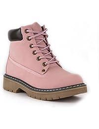 Lilley-Botines para mujer de encaje rosa