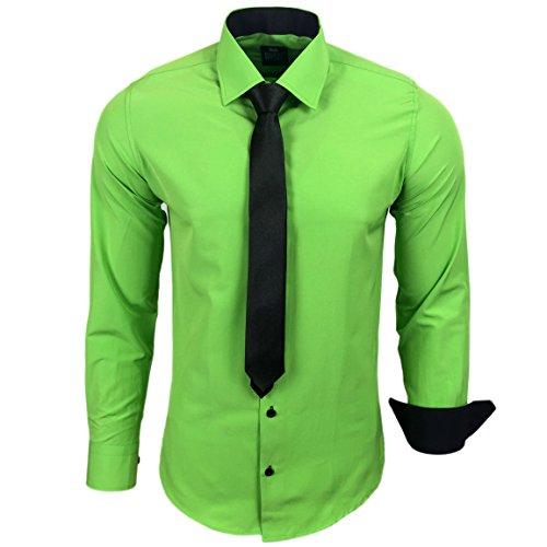 R-44-KR Herren Kontrast Hemd Business Hemden mit Krawatte Hochzeit Freizeit Fit, Farbe:Grün;Größe:M