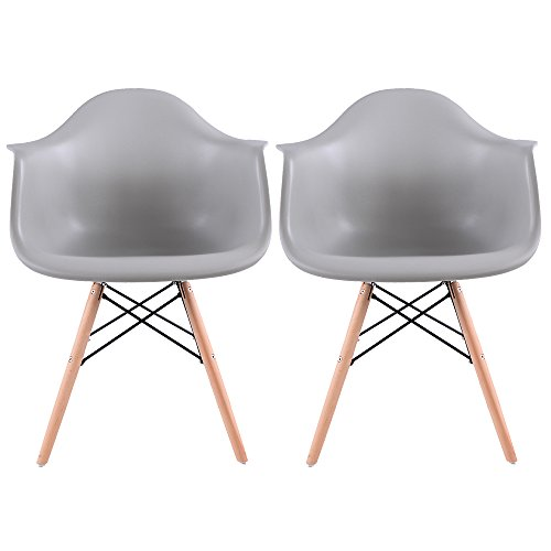 EGGREE Lot de 2 Scandinave Chaises de Salle à Manger Chaise de Salon Chaises de Café Les Fauteuils Lounge Fauteuil de Bureau Meubles - Kohler,Gris