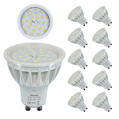 5W GU10 LED Lampe Ersetz 50W Warmweiß 2700K Nicht Dimmbar 600LM RA85 120°Abstrahlwinke,10 Pack. -