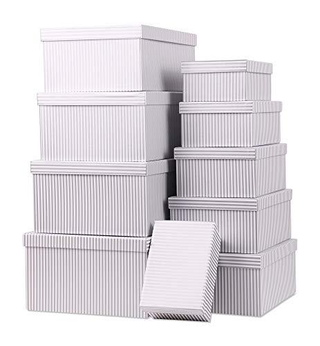 ngsboxen Schachteln Geschenkbox im 10er Set mit Deckel Verschiedene Designs (Streifen Grau) ()