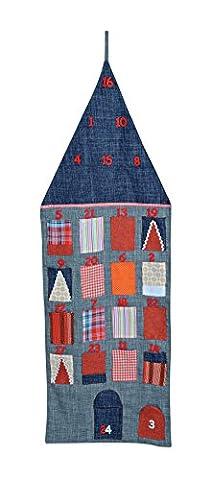 XXL Adventskalender zum Befüllen und Aufhängen aus Textil / Filz, 42x126 cm, Haus-Optik in grau-orange | Weihnachtskalender für Kinder & (Dezember Kalender 2016 Weihnachten)
