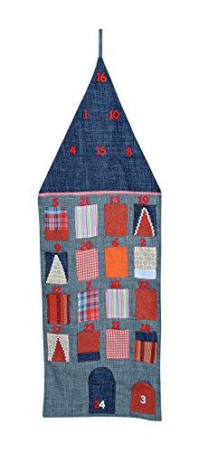 Preisvergleich Produktbild XXL Adventskalender zum Befüllen und Aufhängen aus Textil / Filz, 42x126 cm, Haus-Optik in grau-orange | Weihnachtskalender für Kinder & Erwachsene