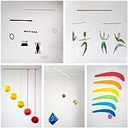 Set of 5 Montessori inspired mobiles - Black and white mobile, Orange Gobbi, Dancers, Octahedron, Rainbow. Mon