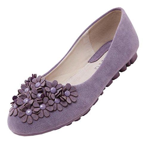 Evedaily Mocassins Femme avec Fleurs Décorées Chaussures Ballet Plates Slip-on Violet