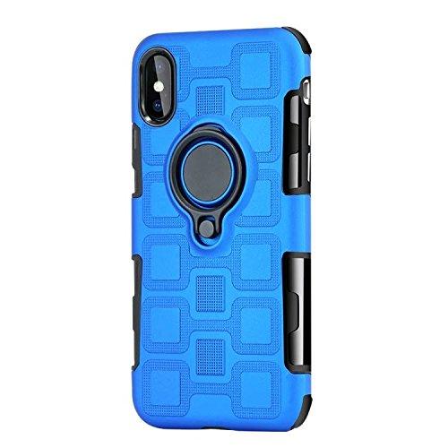 JINXIUCASE Handyhülle Fall, Armour Dual Layer 2 in 1 Schutzhülle mit drehbarem Fingerring Halter Ständer passend für magnetische Auto Halterung für iPhone X/XS (Farbe : Blau)