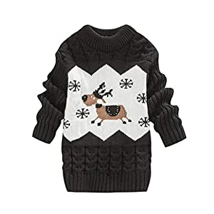 MEIbax Navidad Niño Niña Femenino Bebé Fawn Frill Twist Knit Sweater Jersey de Manga Larga Abrigo 4