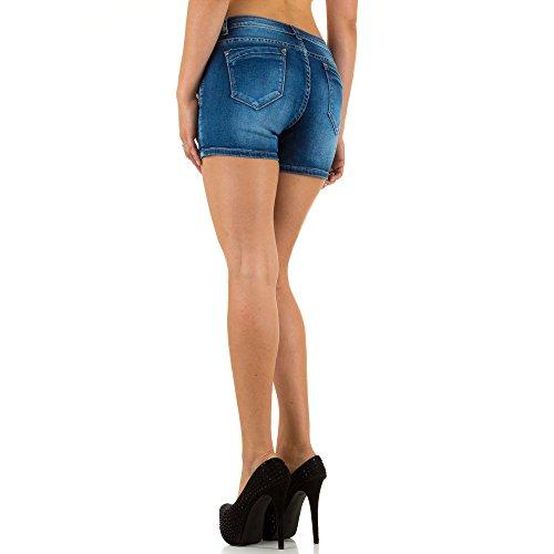 Damen Shorts, DESTROYED HÜFT JEANS, KL-J-SOT-S2381 Blau