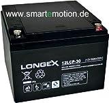 Longex Blei Gel Bleigel Akku Batterie 12V 30Ah 12LCP-30 Zyklentyp Deep Cycle AGM