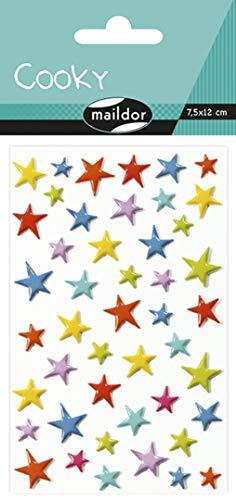 Maildor 560501C Packung mit Stickers Cooky 3D (1 Bogen, 7,5 x 12 cm, ideal zum Dekorieren, Sammeln oder Verschenken, Sterne) 1 Pack