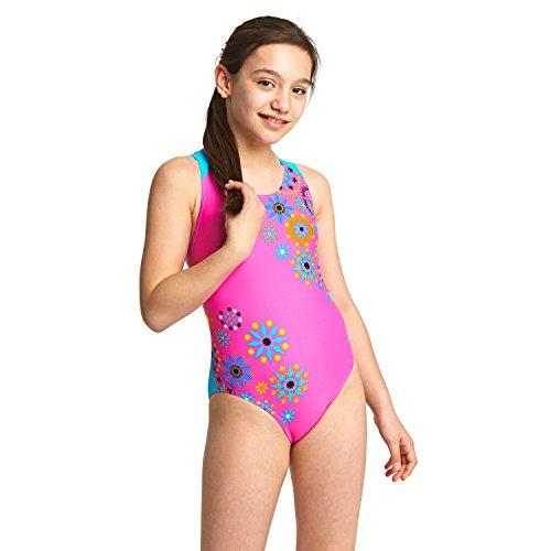 Zoggs Mädchen Folk Tale Flyback Badeanzug, Pink/Multi, 140
