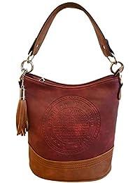 1461a7ce9de3f Unbekannt fashion DU Damen Handtasche Tasche mit Ring Anhänger Aufdruck  schwarz grau blau rot klein