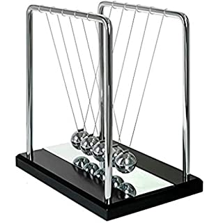 Ailiebhaus Newtons Cradle with 5 Bright Metal Balls (Black&Mirror)