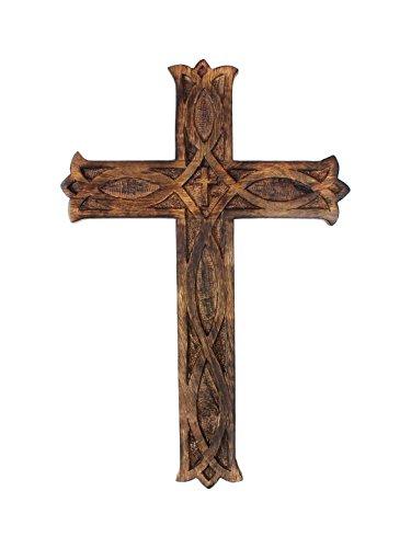 storeindya Geschenke Hölzernes Wand-Kreuz rustikales Keltisches Jesus Kreuz christliches katholisches religiöses, Wooden Wall Cross zum Ihres Altars zu schmieren Gebranntes Endwand dekor