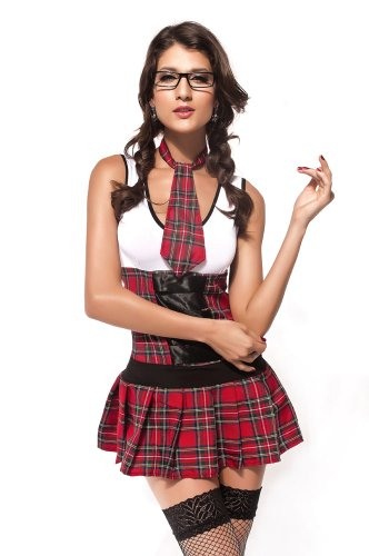 New Damen Verspielte 3Stück rot Plaid School Girl Kostüm Hen Night Party Club Wear Größe UK 12EU (Kostüm Kid Club)