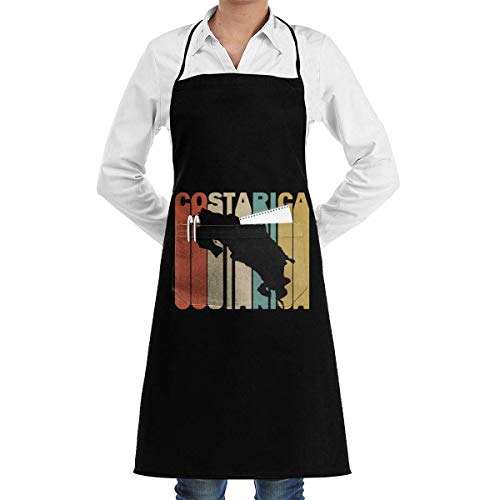 Funny Aprons Retro Style Costa Rica Silhouette Menâ€s Womenâ€s Unisex Chef Kitchen Long Aprons Sleeveless Overalls Portable with Pocket for Cooking,Baking,Crafting,Gardening,BBQ