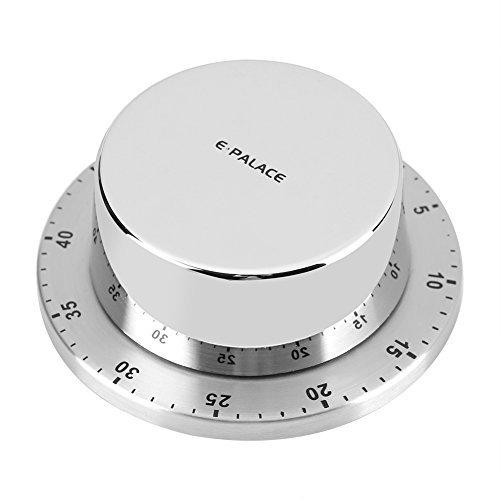 Mechanische Küchentimer Eieruhr Kurzzeitmesser Kochuhr Mechanische Timer 60 Minute Timing Countdown mit Magnetischer Rückseit Alarm für Haushalt Küche Kochen Backen Timer (Silber / Schwarz)