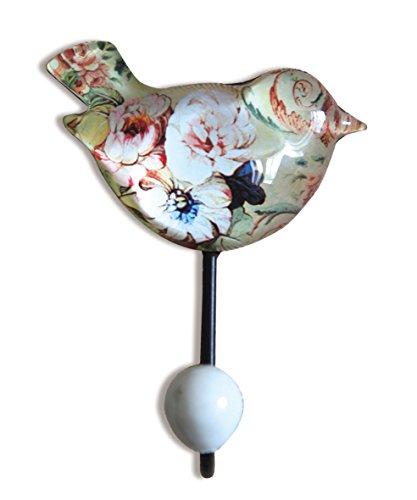 NIKKY HOME Wandkleiderhaken Bad Handtuchhaken Kabine Veranda Haken Retro Vintage Haken Hutablage Vogel Aufhänger Metall und Glas Beige
