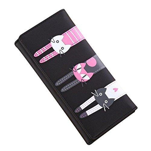 Internet Femmes chat modèle Coin portefeuille Cuir d'unité centrale Long sac à main 18cm×9cm (Noir)