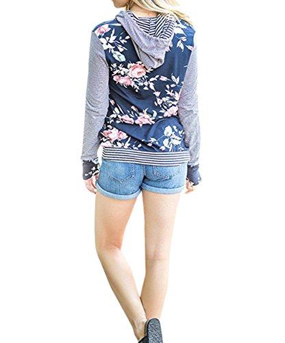 Scothen Sweat-Shirt à Capuche à Manches Longues Pour Femmes Sweat-Shirt à Capuche Décontracté Sweats à Capuche à Manches Longues T-Shirt Tops blue