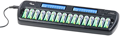 tka Köbele Akkutechnik Akkulader: Ladegerät für 16 AA(A)-Akkus, 2 LCD-Displays, Einzelschacht-überwacht (Ladegerät Akku)