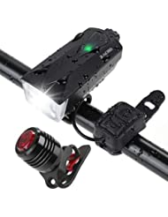 Zacro Luz Bicicleta 2600mAh Luces Bicicleta Delantera y Trasera USB Recargable,IPX4 Impermeable,Luz de Bicicleta con 2 USB Cables,6 Modos de Luces para Ciclismo, Camping y Carretera.