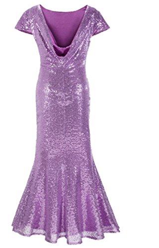 EMIN Damen Abendkleid Kleid Lang Festlich Elegant Kurzarm Cocktailkleid Kleider Partykleid mit Pailletten Lila