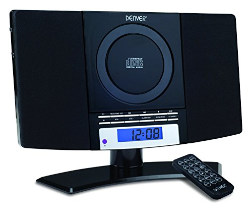 DENVER MC-5220 Black CD Player Stereo Wall Mountable Music System with FM Radio, Clock Alarm & Remote Control - UK warranty Test