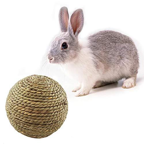 Chalkalon Natuerliches Grasball Kaninchen Kleines Haustier Kauen Spielzeug Zahnreinigung für Kaninchen Hamster und Andere Kleine Haustiere -