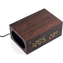 YOUMI multi-funciones cargador inalámbrico estéreo de altavoces de madera cargador NFC altavoz inalámbrico Bluetooth Qi cargador + alarma + tiempo de la temperatura, compatible con Samsung S7 S7 Edge Google Nexus 7 6 Otros dispositivos habilitados para Qi LED, de 3,5 mm de audio para el ordenador portátil Reproductor MP4 PC de escritorio, reloj despertador con snooze temperatura del termómetro en el micrófono para manos botones de control de llamada gratis para la oficina coche casa(Brown)
