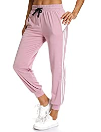 ebb212c515496 RIOJOY Women's Casual Athletic 2-Stripe Jogger Pants Drawstring Waist  Sweatpants Tracksuit Bottoms with Pockets