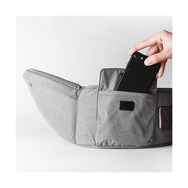 KOIUJ Seat Ergonomic 3D Baby Carrier 2 in 1 Soft Baby Hipseat Wrap Carrier Front and Back for Outdoor Travel Waist Stool for Women Men Newborn Baby Infant (Gray) KOIUJ ※The soft cotton makes the baby comfortable in all positions; The baby's back has a full range of head support so the baby's head can be well protected. ※The baby carrier is made of mesh and polyester fabric so each baby can breathe. Adjustable straps and straps are suitable for every parent to use in everyday use. It will make you feel most comfortable. Suitable for 3-36 months. ※There is a pocket next to the single hip seat so that you can place daily outdoor essentials. Two baby bibs are attached to the shoulder strap for babies and parents. 4