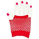Pair of wrist length fingerless Goth Net Gloves Brand new item in bag,Available in 5 colours .One size stretchy . (Red)