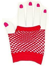 Short Fishnet Fingerless Gloves - Red