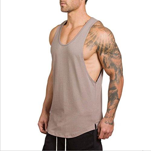 Herren Plain Gym Weste Fitness Übung Running Bodybuilding Tank Top (XL, Rosa) (Tank Rosa-übung)