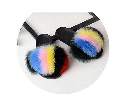 Faux Fox FurSlides Slippers Casual Shoes Fluffy Flip Flops Chausson Furry Women,m,11 Stiletto Heel Ankle Tie