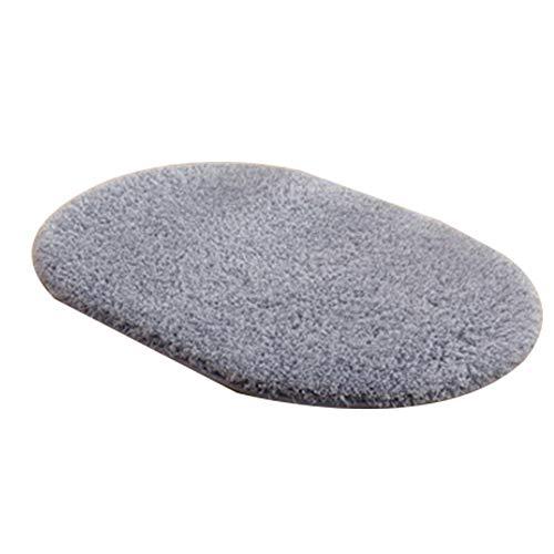 Alfombra de suelo ovalada, Tamaño pequeño, gris natural, antideslizante, alfombra de baño, lisa...